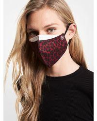 Michael Kors Leopard Stretch Cotton Unisex Face Mask - Red