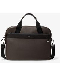 Michael Kors Greyson Slim Pebbled Leather Briefcase - Marron