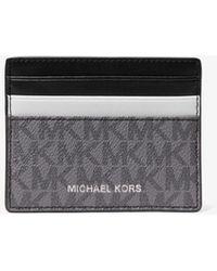 Michael Kors Porta carte di credito Hudson grande color-block con logo - Nero