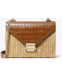 Michael Kors Whitney Large Raffia And Leather Convertible Shoulder Bag - Brown