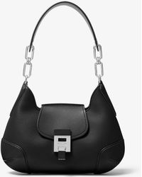 Michael Kors Bancroft Medium Calf Leather Shoulder Bag - Black