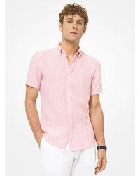 Michael Kors Striped Seersucker Linen Blend Short Sleeve Shirt - Red