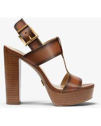 Michael Kors Becker Burnished Leather Platform Sandal - Brown