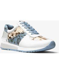 Michael Kors - Allie Snake-embossed Leather Sneaker - Lyst