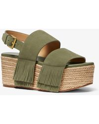 Michael Kors Mk Hana Suede Flatform Sandal - Green