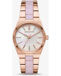 Michael Kors - Channing Rose Gold-tone And Acetate Watch - Lyst