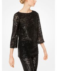 Michael Kors - Zebra Sequined Stretch-tulle Tunic - Lyst