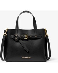 Michael Kors Emilia Small Pebbled Leather Satchel - Black