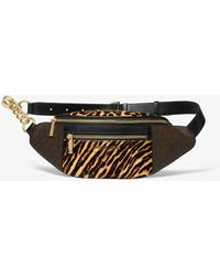 Michael Kors Medium Logo And Animal-print Calf Hair Belt Bag - Brown