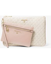 Michael Kors Slater Large Logo And Leather 2-in-1 Wristlet - Pink