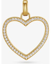 Michael Kors 14k Gold-plated Sterling Silver Pavé Oversized Heart Charm - Metallic