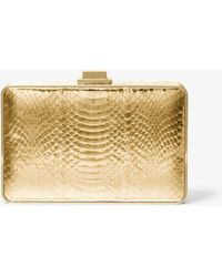 Michael Kors - Metallic Snakeskin Box Clutch - Lyst