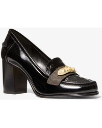 Michael Kors Jackie Logo Embossed Patent Loafer - Black