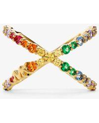 Michael Kors 14k Gold-plated Sterling Silver Rainbow Pavé Oversized Ring - Metallic