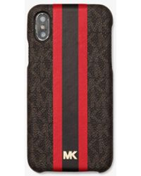 Michael Kors Logo Stripe Phone Cover For Iphone X/xs - Red