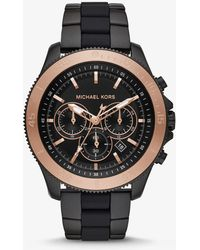 Michael Kors - Oversized Theroux Black-tone And Silicone Watch - Lyst
