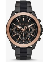 Michael Kors - Theroux Black-tone And Silicone Watch - Lyst