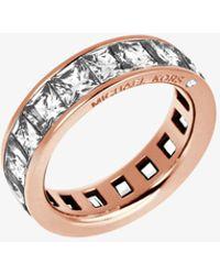 Michael Kors - Baguette Crystal Rose Gold-tone Ring - Lyst