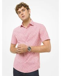 Michael Kors Mini Floral Stretch Cotton Short Sleeve Shirt - Red