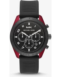 4964a16ed186 Michael Kors - Oversized Keaton Coated Stainless Steel And Silicone Watch -  Lyst