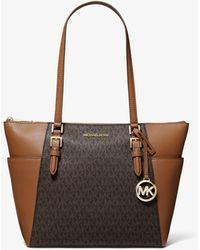 Michael Kors Charlotte Large Logo And Leather Top-zip Tote Bag - Brown