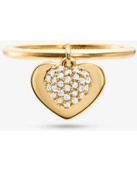 Michael Kors Anillo con corazones de plata de ley con chapado en metales preciosos e incrustaciones - Amarillo