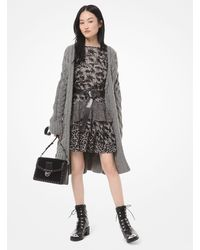 Michael Kors Oversized Cable-knit Wool-blend Cardigan - Gray