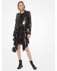 Michael Kors Patent Leather Moto Jacket - Black