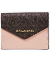 Michael Kors Medium Logo And Leather Envelope Wallet - Multicolour