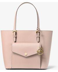 Michael Kors Jet Set Medium Saffiano Leather Pocket Tote Bag - Pink