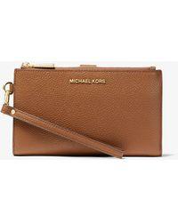 Michael Kors Adele Pebbled Leather Smartphone Wallet - Brown