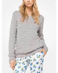 Michael Kors - Pearl Embroidered Cashmere Sweatshirt - Lyst
