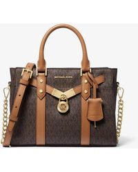 Michael Kors Petit sac porté main Nouveau Hamilton en cuir à logo - Marron