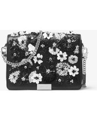 Michael Kors - Jade Floral Sequined Leather Clutch - Lyst