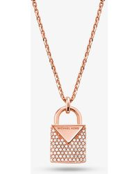 Michael Kors - Precious Metal-plated Sterling Silver Pave Lock Necklace - Lyst