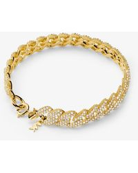 Michael Kors Precious Metal-plated Sterling Silver Pavé Curb Link Bracelet - Metallic
