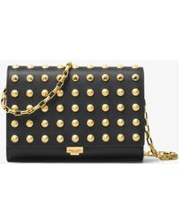 Michael Kors - Yasmeen Studded French Calf Leather Clutch - Lyst