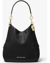 Michael Kors Grand sac porté épaule Lillie en cuir grainé - Noir