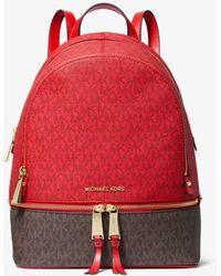 Michael Kors Rhea Medium Two-tone Logo And Leather Backpack - Red