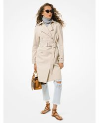 Michael Kors Cotton Twill Trench Coat - Natural
