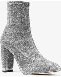 Michael Kors Mandy Glitter Stretch-knit Ankle Boot - Metallic
