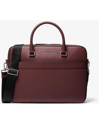 Michael Kors Harrison Saffiano Leather Front-zip Briefcase - Red