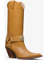 Michael Kors Collins Leather Western Boot - Multicolour