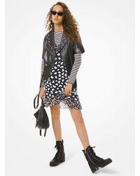 Michael Kors Leather Short-sleeve Moto Jacket - Black