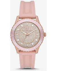 Michael Kors Runway Pavé Silicone Strap Watch - Pink