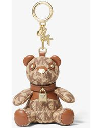 Michael Kors Logo Jacquard Bear Keychain - Brown