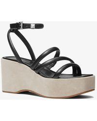 Michael Kors Hazel Leather Platform Sandal - Black