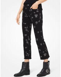 Michael Kors - Jeans corti con stampa rose metallizzata - Lyst