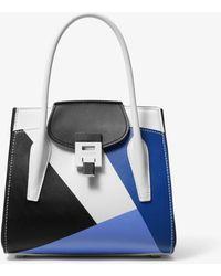 Michael Kors Bancroft Medium Color-blocked Calf Leather Satchel - Multicolour