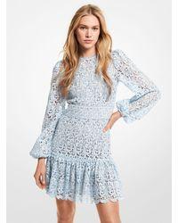 Michael Kors Floral Lace Mini Dress - Blue